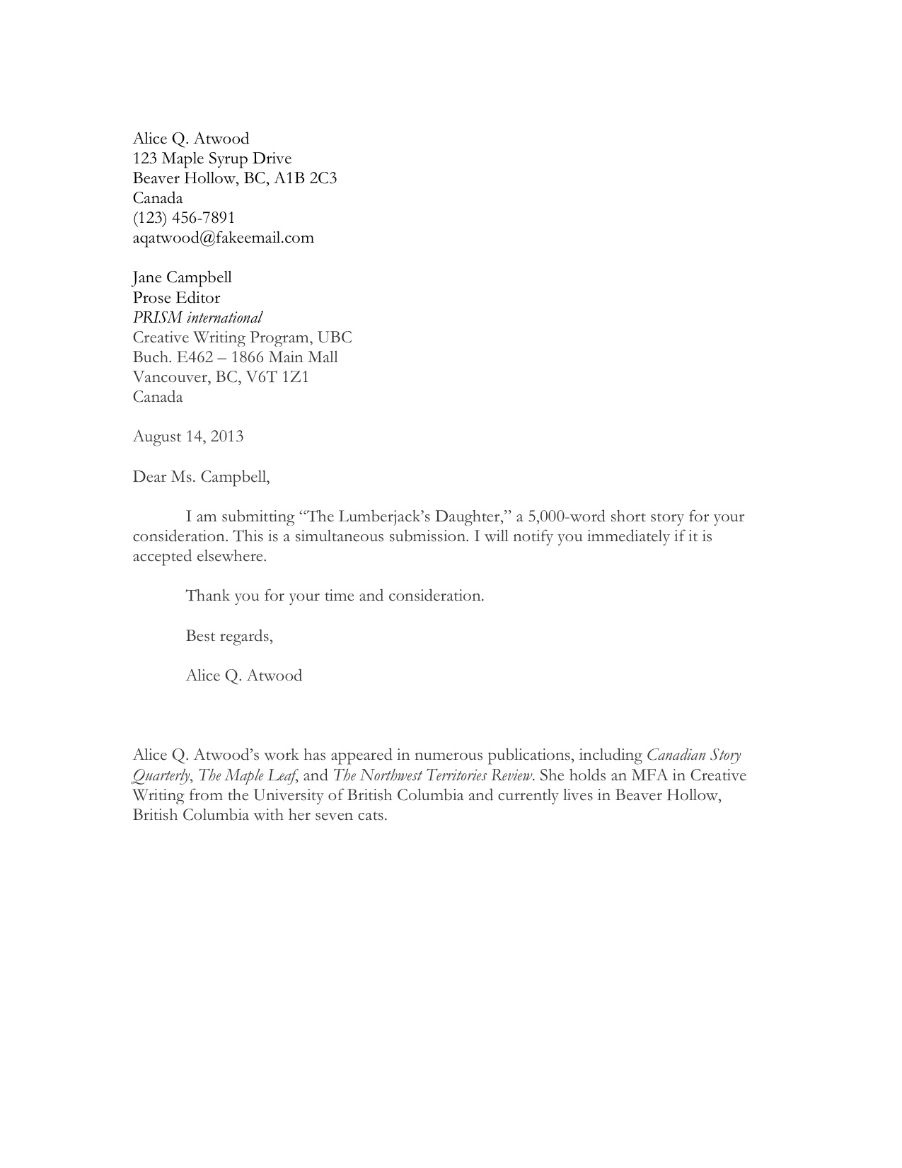 Cover Letter Example  Short Cover Letter Sample